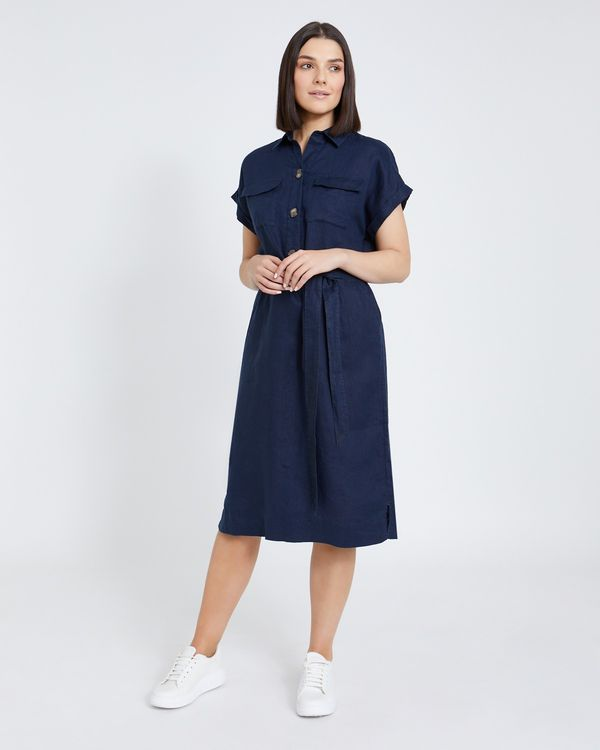 Paul Costelloe Living Studio Navy Two Pocket Linen Dress