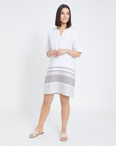 Paul Costelloe Living Studio Linen Colour Block Hem Dress thumbnail