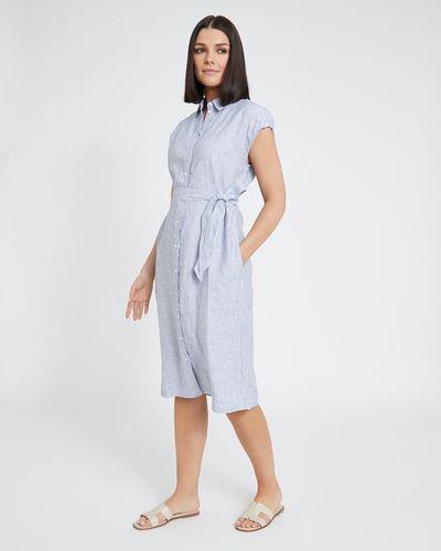 Paul Costelloe Living Studio Linen Button Through Stripe Dress thumbnail