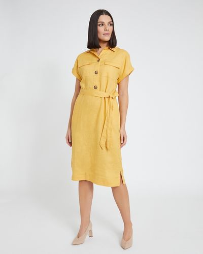 Paul Costelloe Living Studio Ochre Linen Two Pocket Dress
