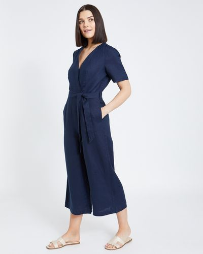 Paul Costelloe Living Studio Navy Linen Jumpsuit