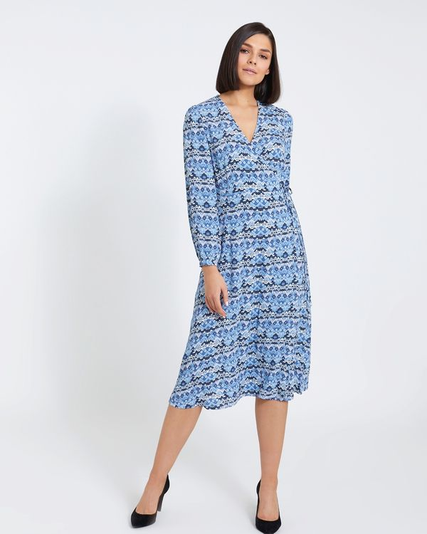 Paul Costelloe Living Studio Blue Geo Wrap Dress
