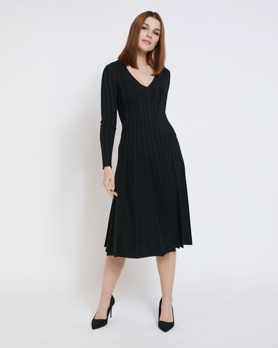 Paul Costelloe Living Studio Black Pleat Vee Dress