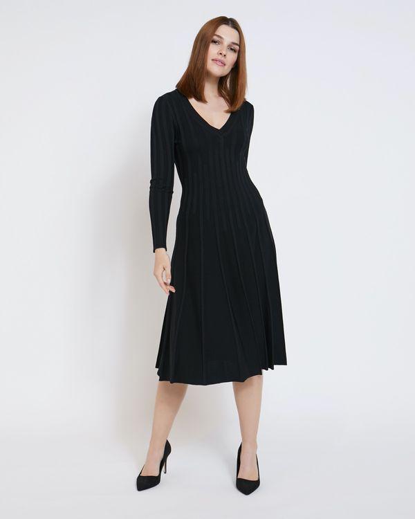 Paul Costelloe Living Studio Black Pleat Vee Dress