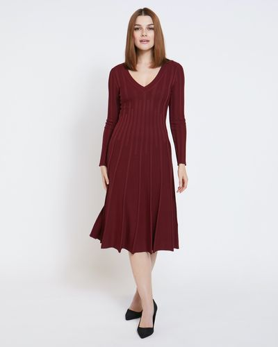 Paul Costelloe Living Studio Red Pleat Vee Dress