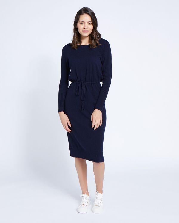 Paul Costelloe Living Studio Navy Cashmere-Blend Knit Dress