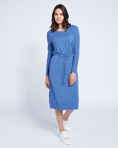 Paul Costelloe Living Studio Blue Cashmere-Blend Knit Dress