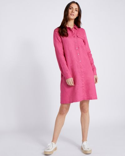 Paul Costelloe Living Studio Pink Collar 100% Linen Dress