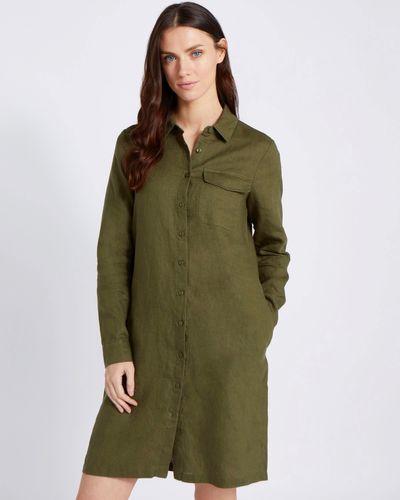 Paul Costelloe Living Studio 100% Linen Green Collar Linen Dress