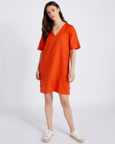 Paul Costelloe Living Studio 100% Linen Orange Button Tunic