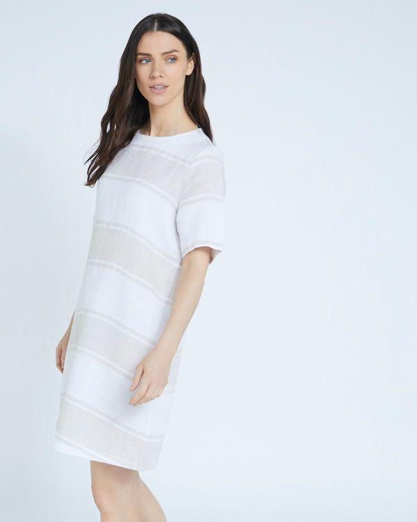 Paul Costelloe Living Studio Stone Stripe 100% Linen Dress