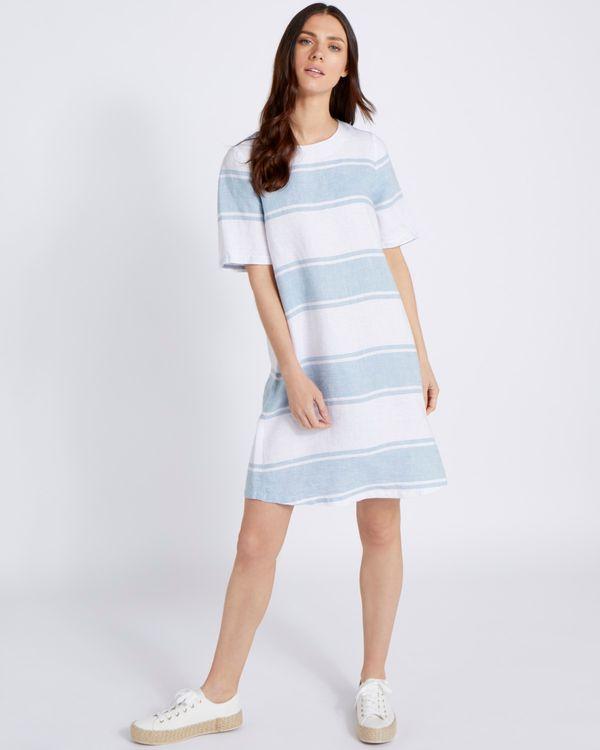 Paul Costelloe Living Studio 100% Linen Blue Stripe Linen Dress