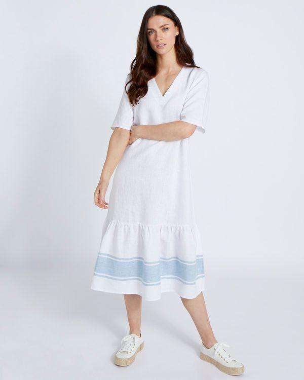 Paul Costelloe Living Studio 100% Linen Blue Peplum Maxi Dress