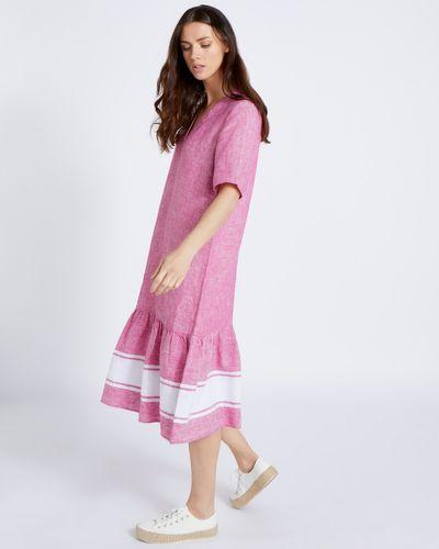 Paul Costelloe Living Studio 100% Linen Pink Peplum Maxi Dress