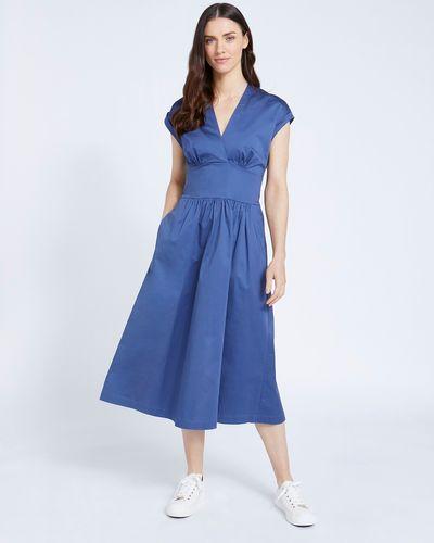 Paul Costelloe Living Studio Blue Poplin Dress