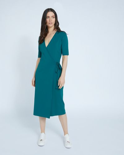 Paul Costelloe Living Studio Green Knit Wrap Dress thumbnail