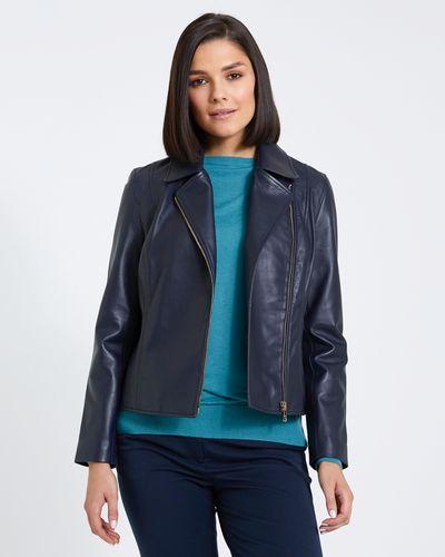 Paul Costelloe Living Studio Navy Leather Jacket