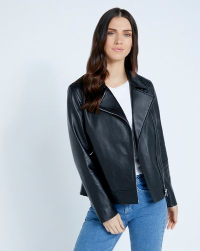 Paul Costelloe Living Studio Black Leather Jacket