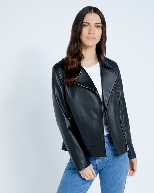 Paul Costelloe Living Studio Black Leather Jacket