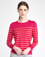 fuchsia Paul Costelloe Living Studio Merino Stripe Jumper