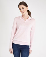 light-pink Paul Costelloe Living Studio Knitted Placket Jumper