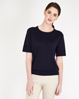 navy Paul Costelloe Living Studio Knitted T-Shirt