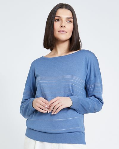 Paul Costelloe Living Studio Blue Sheer Stripe Jumper