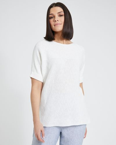 Paul Costelloe Living Studio Cream Waffle Panel Jumper