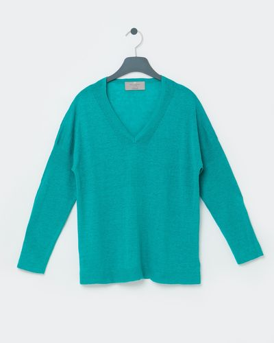 Paul Costelloe Living Studio Green Linen V-Neck Jumper