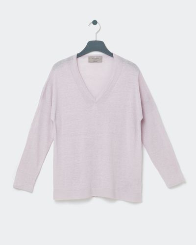 Paul Costelloe Living Studio Blush Linen V-Neck Jumper