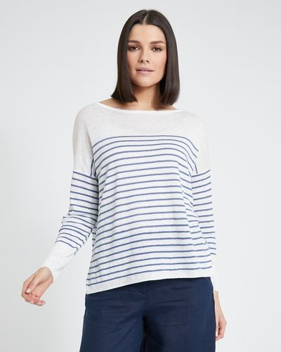 Paul Costelloe Living Studio Ivory Stripe Linen Jumper