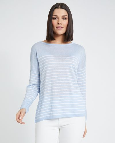 Paul Costelloe Living Studio Blue Stripe Linen Jumper