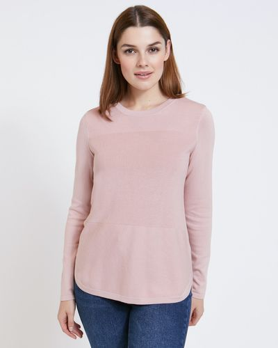 Paul Costelloe Living Studio Blush Cotton Panel Jumper thumbnail