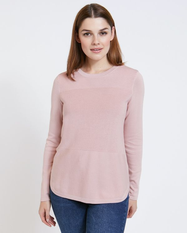 Paul Costelloe Living Studio Blush Cotton Panel Jumper