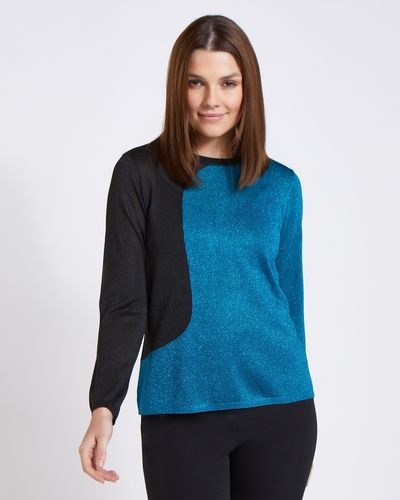Paul Costelloe Living Studio Blue Lurex Two Tone Jumper