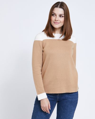 Paul Costelloe Living Studio Colour Block Cotton Cashmere Crew-Neck Jumper