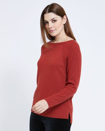 Paul Costelloe Living Studio Rust Boat Neck Rib Jumper thumbnail