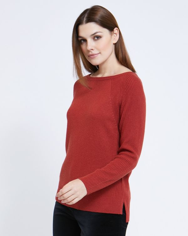 Paul Costelloe Living Studio Rust Boat Neck Rib Jumper