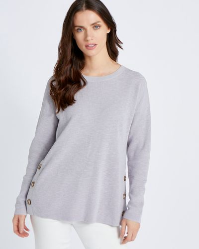 Paul Costelloe Living Studio Light Grey Button Waffle Jumper