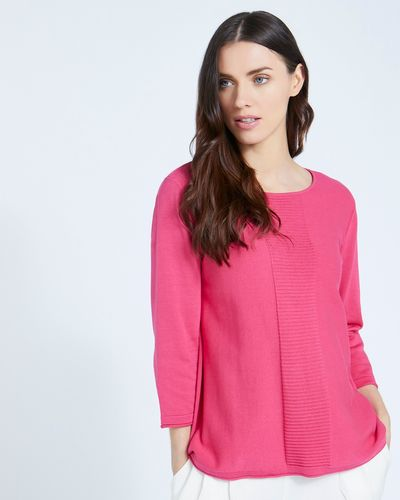 Paul Costelloe Living Studio Pink Panel Knit Jumper