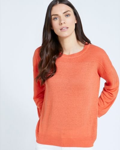 Paul Costelloe Living Studio Orange Linen Crew Neck Jumper