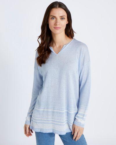 Paul Costelloe Living Studio 100% Linen Blue Knit Tunic
