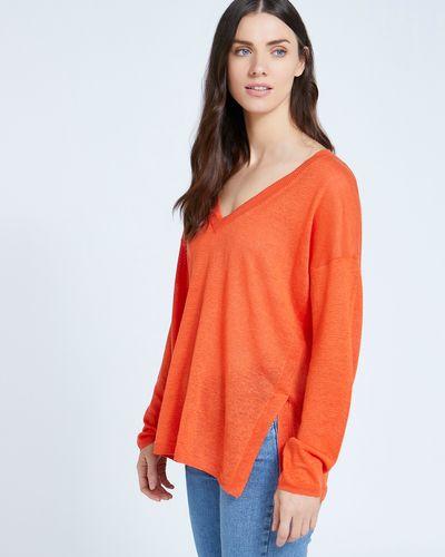 Paul Costelloe Living Studio 100% Linen Orange V-Neck Knit Jumper
