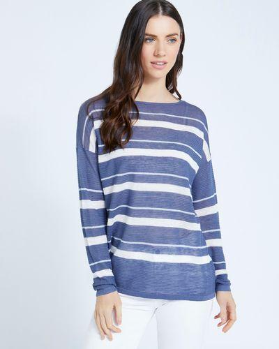 Paul Costelloe Living Studio 100% Linen Blue Stripe Jumper