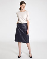 navy Paul Costelloe Living Studio Leather Skirt