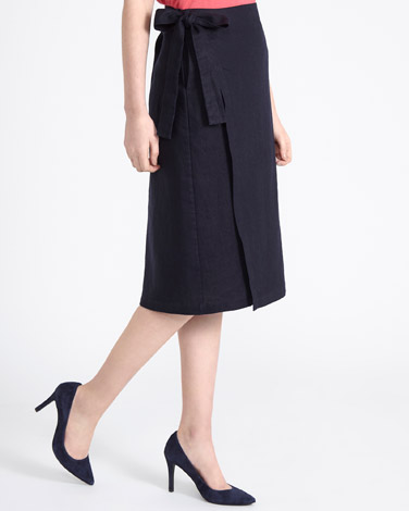 navy Paul Costelloe Living Studio Linen Wrap Skirt