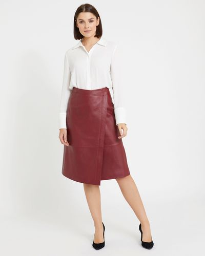 Paul Costelloe Living Studio Leather Wrap Skirt thumbnail