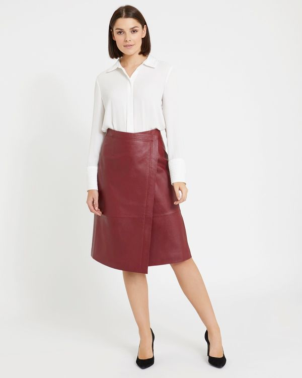 Paul Costelloe Living Studio Leather Wrap Skirt