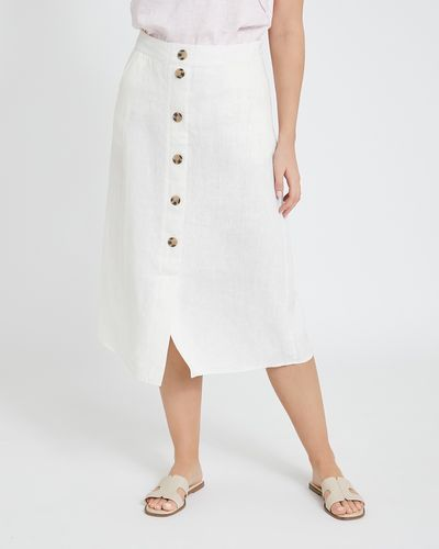 Paul Costelloe Living Studio Cream Linen Skirt thumbnail