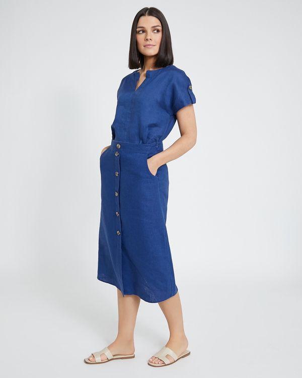 Paul Costelloe Living Studio Blue Linen Skirt